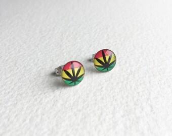 weed earring, rasta, rastafarian, post, stud, gifts for stoners, cannabis, marijuana, weed, stoner, cute, marijuana jewelry earring  RASTA