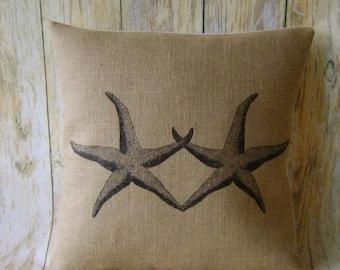 """Starfish - 16"""" Hessian Jute Burlap cushion /pillow cover nautical/coastal shabby chic country UK handmade"""