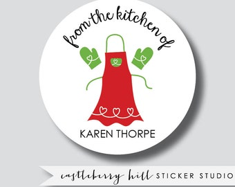 From The Kitchen Of Stickers,  Personalized Stickers, baked goods stickers, personalized apron stickers
