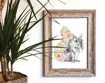 Floral Squirrel Print