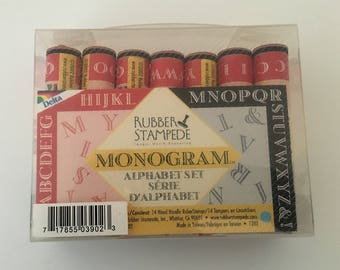 Monogram Alphabet Set Rubber Stamp Set (free shipping)