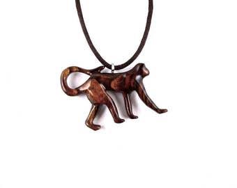 Monkey Necklace, Monkey Pendant, Wood Monkey Necklace, Monkey Jewelry, Monkey Totem Tribal Jewelry, Hand Carved Animal Pendant, Wood Jewelry