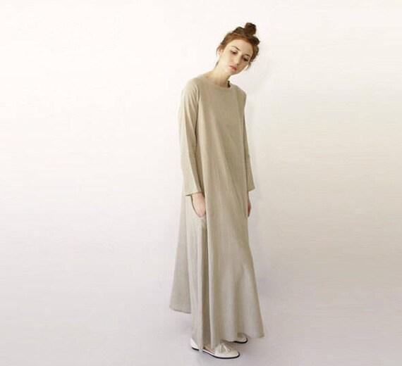 Beige Dress Neutral Long Sleeve Maxi
