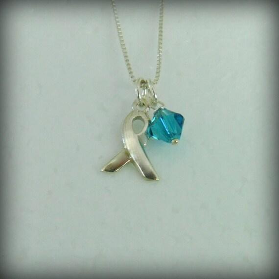 Sterling silver medical awareness necklace, awareness ribbon charm, survivor jewelry, ovarian-uterine-cervical cancer