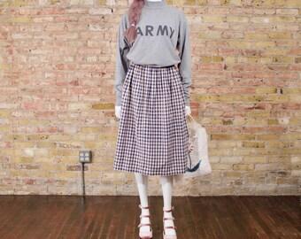 gingham midi skirt / full skirt / pale pink / navy blue / elastic waist skirt / easy fit / summer skirt / full midi skirt / spring pastel