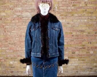 fox trim denim jacket / 90s jean jacket / fitted jean jacket / fur trim jean jacket / fox fur trim / quilted jean jacket / minimalist
