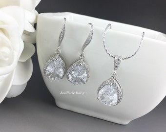Cubic Zirconia Jewelry, Bridal Jewelry Set, Bridesmaids Jewelry, Wedding Jewelry, Teardrop Necklace, Cubic Zirconia Necklace Earrings