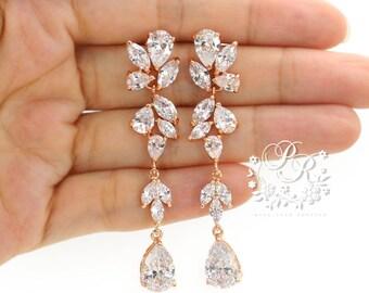 Wedding Earrings Rose Gold plated Teardrop Zirconia Earrings Wedding Jewelry Bridesmaid Earrings Bridal Earrings Wedding Accessory Sasa Ava