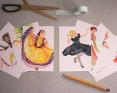 8 Illustrated World Dancers Printed postcards / mini print - A6 - Art cards - Travel postcards