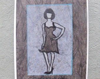 Original handmade greeting card, linocut block print on vintage black Japanese paper, blank card, little black dress, fashion illustration