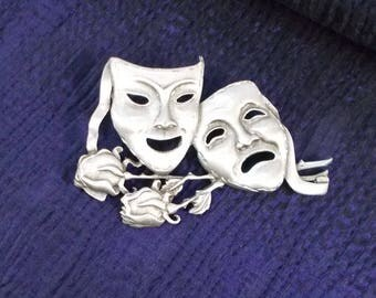 Retro JJ Comedy and Tragedy Masks With Roses By JJ Brooch  2785