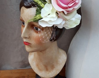 Fascinator Hairflower Headpiece pink rose green hydrangea flowers Rockabella bridal hair flower pin up vintage pastel fifties veil
