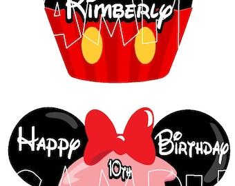 Custom Birthday Cupcake Mickey Minnie Mouse Disney Cruise Line Stateroom Door Magnet