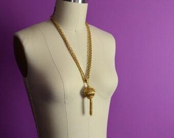 Gold Ornate Tassel Multi Strand Pendant Necklace Sautoir