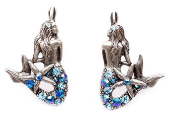"""The """"Under the Sea"""" Right and Left Mermaids with Starfish Tail Eurowire Earrings"""