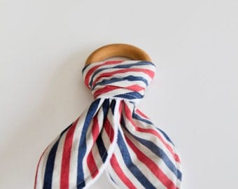 Natural Wood Teething Ring | Red, White and Blue Striped