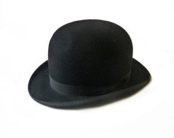 Antique Bowler Hat Black Derby Hat Felt Hat Tirard Luxe Paris 1930s