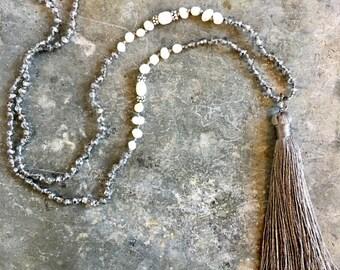 Silk tassel necklace- taupe