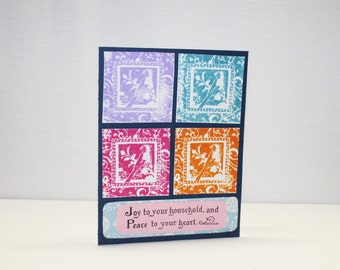 Non Traditional Christmas Card - Simple Patchwork Card - Joy and Peace to your heart - Framed Cardinal Silhouette - Bright Colors