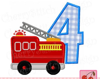 Fire Truck number 4 Birthday Machine Embroidery Applique Design -4x4 5x5 6x6 inch