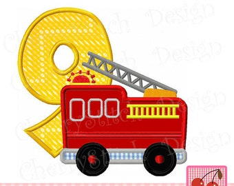Fire Truck Birthday number 9 Transportation Machine Embroidery Design-4x4 5x5 6x6 inch