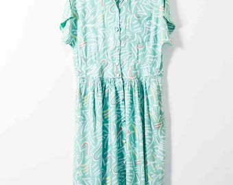 Super Vintage Abstract Print Dress  -  Summer Dress with Pockets  -  Vintage Summer Dress  -  Short Sleeved Dress  -  UK14  - Tea Dress