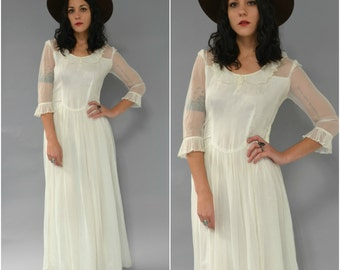 1930s antique ivory wedding gown