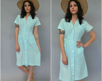 1960s Robin's egg button down cotton day dress
