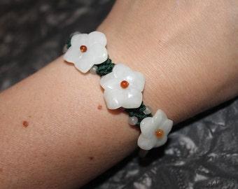 Vintage 1990's Jade Flower Adjustable Macrame Bracelet