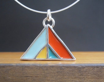 Mountain Necklace - New Century Modern - Blue and Orange Reversible Enamel Necklace