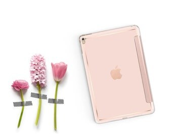 Rose Gold Ombre with Rose Gold Smart Cover Hard Case for iPad Air 2, iPad mini 4 , iPad Pro , New iPad 9.7 2017 - Platinum Edition