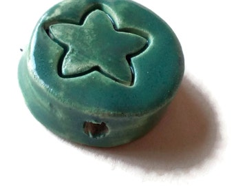 Coin ceramic beads, handmade jewelry, large beads, handmade beads, clay beads, porcelain beads, green star beads to assemble jewelry