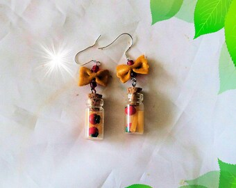 Earrings, glass bottle, polymer clay, polymer clay pasta to go, hand made