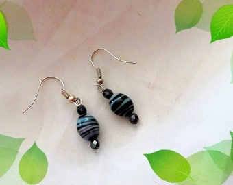 Black and white oval earrings