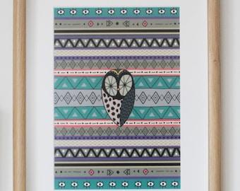Print Owl Aztec