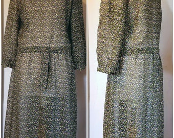 Dust Bowl Vintage 30s sz. 10 cotton voile dress floral print bohemian boho mod excellent condition!