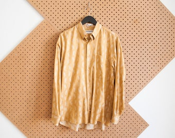 SALE vintage jhane barnes gold shirt mens 90s abstract yellow and white throwback printed shirt medium