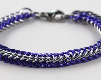 Persian Chainmaille Bracelet   Hand Crafted Chainmaille Jewelry   Handmade Bracelet   Purple and Silver   Anodized Aluminum