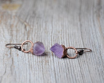 raw amethyst earrings crystal rough amethyst earrings hoop copper electroformed earrings gift for women february birthstone