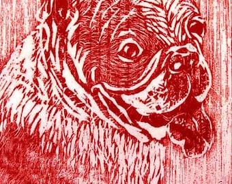English Bulldog Print, Handpulled Woodblock Relief print, Dog Art Bull Dog Relief Print, Printed in Red Ink
