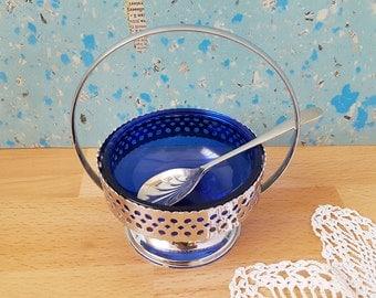 Vintage Sugar Bowl with Cobalt Blue Glass and Metal Sugar Spoon