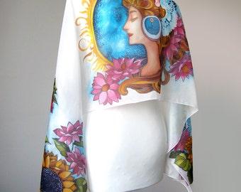 Spring lady silk scarf flowers - greek goddess - Flora - spring scarves - foulard - sunflower coneflower - Art Nouveau Mucha - minku lul
