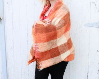 Shawl with Sleeves, Kimono Shrug, Rustic Orange, Glen Cree Mohair, Vintage Sheet, Wool Blanket, Campfire Girls, Camping Gear, Autumn Throw