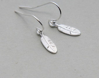 Feather Earrings, Sterling Silver Feather Earrings, Feather Dangle Earrings, Tiny Feather Earrings, Bohemian Earrings, Feather Jewelry