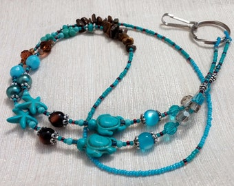 Turquoise Lanyard, Turtle Lanyard, Turquiose Turtle Lanyard Necklace, Seed Bead Lanyard, Tiger's Eye, Blue Lanyard, Beach Lanyard, ANIMAL