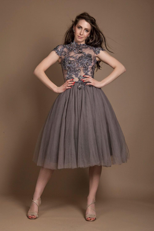 Grauer Tüll Prom Kleid wulstige Spitzenkleid 50er Jahre Stil