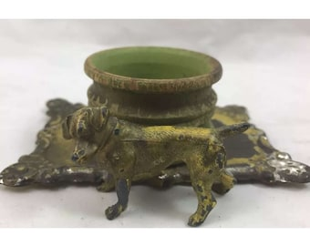 Antique Cast Inkwell. Rare. Dog. Terrier. Canine. Tin. Wood. Painted Metal. Ornate. Decor. Interior design