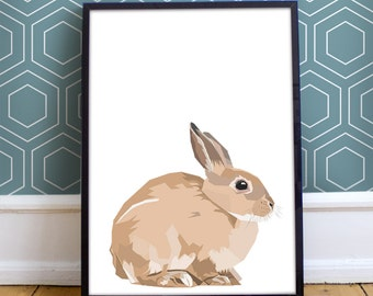 A4 Geometric Bunny Print - original drawing