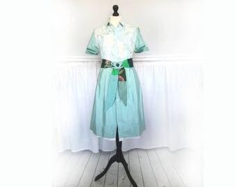 kerstjurk  Dames retro jaren 50 jurk, klassieke jurk, romantisch boho, lange jurk, maat 44, lange jurk, lange mouw, Ecovriendelijke kleding