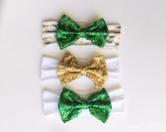 St. Patrick's Day Headband, Gold Sequin Headband, Green Sequin Headband, Baby Girl St. Patty's Day Headband, Hair Accessories, St Patty's